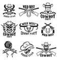 set of wild west emblemscowboy weapon native vector image
