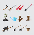 agricultural tools set vector image vector image