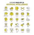 artificial intelligence icon set yellow futuro vector image vector image