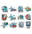 aviation air flight icons airplane pilot school vector image vector image