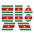 buttons with flag of Suriname vector image vector image