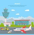 cartoon airport building and airplanes card vector image vector image