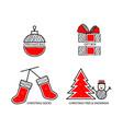 christmas ball gift socks vector image