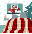 couple hippos are watching christmas movie vector image vector image