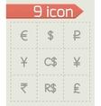 Currency symbol icon set vector image vector image