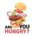delicious burger attractive flying hamburger vector image