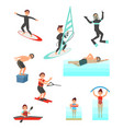 flat set with young people involved vector image vector image