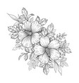 hand drawn floral bunch with hibiscus flowers vector image vector image