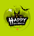 Happy Halloween message design on green background vector image vector image