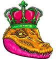 head queen crocodile design vector image