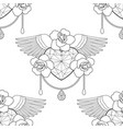 heart and roses outline seamless pattern vector image