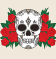 isolated a skull with roses vector image