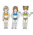 little girls cute children group standing wearing vector image