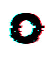 logo letter o glitch distortion vector image vector image