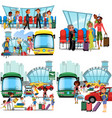 people in airport flat color icons set pilot vector image vector image