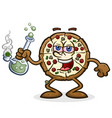pizza pie cartoon character smoking marijuana bong vector image vector image