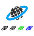 planetary ring flat icon vector image vector image