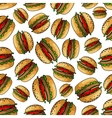 Seamless american bbq burgers background pattern vector image vector image