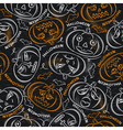 Seamless Pattern with color Halloween Pumpkins vector image