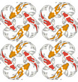 seamless pattern with red and orange koi fish carp vector image