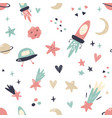 seamless pattern with space elements in flat style vector image