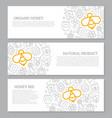 set of three digital honey and bee horizontal vector image
