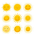 set sun icons collection suns vector image vector image