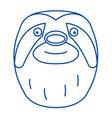 sloth head line icon concept sloth head flat vector image vector image