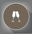 sparkling champagne glasses white icon on vector image vector image