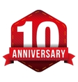Ten year anniversary badge with red ribbon vector image vector image