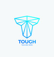 tough letter t abstract emblem sign vector image