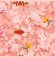 tropical flowers flamingo pink camo seamless vector image vector image