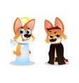 two corgi characters puppies in angel and devil vector image vector image