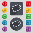 Web stickers icon sign A set of 12 colored buttons vector image