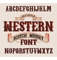 Western label font with decoration design vector image