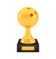 winner bowling cup award on stand with empty plate vector image vector image