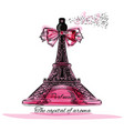 with perfume bottle in shape eifel tower vector image