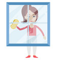 woman cleaning glass on white background vector image vector image