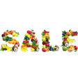 Word SALE composed of different fruits with leaves vector image vector image
