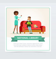 young woman sitting on sofa and reading book in vector image vector image