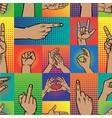 popart hands fingers gesture human symbols vector image