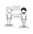 line man people conversation concept vector image