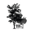 bench and trees vector image