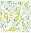 Abstract seamless hand-drawn pattern with leaves vector image