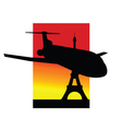 airplane and eiffel tower silhouette vector image vector image