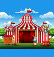 big top circus tents white and red background vector image vector image