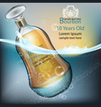 bourbon bottle realistic with water vector image