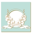 card with white orchids on a blue frame vector image vector image