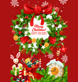 christmas wreath banner with new year holiday gift vector image vector image