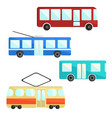 city public transport set bus trolley and tram vector image